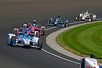 Verizon IndyCar Series<br /> Indianapolis 500 Carb Day<br /> Indianapolis Motor Speedway, Indianapolis, IN USA<br /> Friday 26 May 2017<br /> Marco Andretti, Andretti Autosport with Yarrow Honda, Carlos Munoz, A.J. Foyt Enterprises Chevrolet, Conor Daly, A.J. Foyt Enterprises Chevrolet, Josef Newgarden, Team Penske Chevrolet, Helio Castroneves, Team Penske Chevrolet<br /> World Copyright: F. Peirce Williams