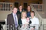 Baby Sean with his parents John & Nuala Keane, Bunagara, Listowel and brother to Lucy & Blathnaid who was christened at St. Mary's Church, Listowel on Saturday last by Canon O.Connor. Front: John Keane. Nuala Keane with Sean & Patricia Carr. Back : Anneliese Durrant & Pat Thornton.