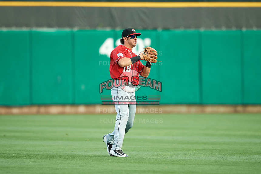 Mike Tauchman (18) of the Albuquerque Isotopes on defense against the Salt Lake Bees in Pacific Coast League action at Smith's Ballpark on June 10, 2017 in Salt Lake City, Utah. The Isotopes defeated the Bees 4-2. (Stephen Smith/Four Seam Images)