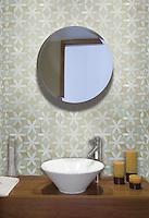 Fiona, a jewel glass mosaic, is shown in Absolute White and Quartz.