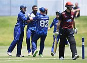 6th December 2017, Eden Park, Auckland, New Zealand; Ford Trophy One Day Cricket, Auckland Aces versus Canterbury Wizards;  Tarun Nethula celebrates dismissing Canterbury's Ben Stokes
