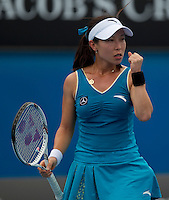 Jie Zheng (CHN) against Marion Bartoli (FRA) (11) in the Third Round of the Womens Singles. Zheng beat Bartoli 6-7 6-3 6-0 ..International Tennis - Australian Open Tennis - Fri 22 Jan 2010 - Melbourne Park - Melbourne - Australia ..© Frey - AMN Images, 1st Floor, Barry House, 20-22 Worple Road, London, SW19 4DH.Tel - +44 20 8947 0100.mfrey@advantagemedianet.com