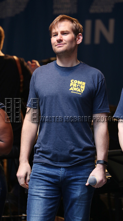 Chad Kimball and the cast of 'Come From Away' on stage at United Airlines Presents #StarsInTheAlley free outdoor concert in Shubert Alley on 6/2/2017 in New York City.
