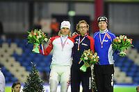 SCHAATSEN: HEERENVEEN: Thialf, KPN NK Allround, 04-02-2012, Podium 5000m Heren, Koen Verweij, Ted-Jan Bloemen, Ben Jongejan, ©foto: Martin de Jong