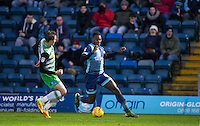 Aaron Pierre of Wycombe Wanderers heads forward during the Sky Bet League 2 match between Wycombe Wanderers and Yeovil Town at Adams Park, High Wycombe, England on 14 January 2017. Photo by Andy Rowland / PRiME Media Images.