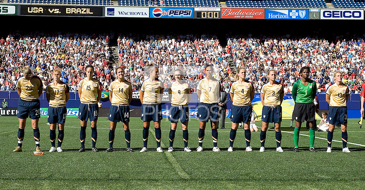 USA women's starting eleven team. USA defeated Brazil 2-0 at Giants Stadium on Sunday, June 23, 2007.