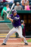 Eric Stamets (8) of the Evansville Purple Aces at bat during a game against the Missouri State Bears at Hammons Field on May 12, 2012 in Springfield, Missouri. (David Welker/Four Seam Images)