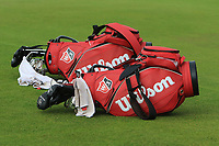 Two red Wilson bags on the 16th during Round 4 of the Alfred Dunhill Links Championship 2019 at St. Andrews Golf CLub, Fife, Scotland. 29/09/2019.<br /> Picture Thos Caffrey / Golffile.ie<br /> <br /> All photo usage must carry mandatory copyright credit (© Golffile | Thos Caffrey)