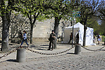 Tight security at the Team Presentation for the upcoming 115th edition of the Paris-Roubaix 2017 race held in Compiegne, France. 8th April 2017.<br /> Picture: Eoin Clarke | Cyclefile<br /> <br /> <br /> All photos usage must carry mandatory copyright credit (&copy; Cyclefile | Eoin Clarke)