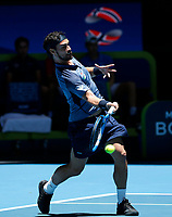 5th January 2020; RAC Arena, Perth, Western Australia; ATP Cup Australia, Perth, Day 3; Italy versus Norway; Fabio Fognini of Italy plays a forehand shot against Casper Ruud of Norway - Editorial Use