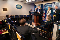 United States President Donald J. Trump makes remarks as he participates in a news briefing by members of the Coronavirus Task Force in the Brady Press Briefing Room at the White House in Washington, DC on Monday, March 23, 2020. <br /> Credit: Chris Kleponis / Pool via CNP/AdMedia