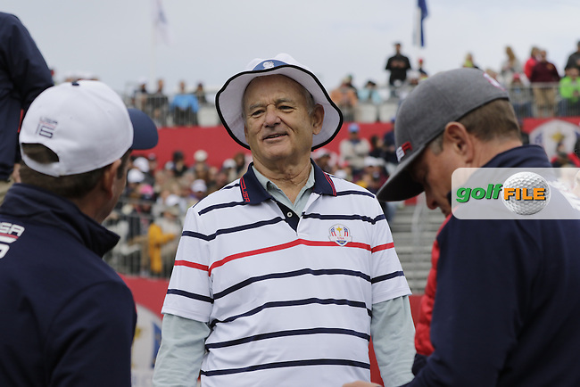 Actor Bill Murray playing in Match 4 of the Ryder Cup Celebrity Matches during Tuesday's Practice Day of the 41st RyderCup held at Hazeltine National Golf Club, Chaska, Minnesota, USA. 27th September 2016.<br /> Picture: Eoin Clarke | Golffile<br /> <br /> <br /> All photos usage must carry mandatory copyright credit (&copy; Golffile | Eoin Clarke)