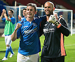 St Johnstone v FC Luzern...24.07.14  Europa League 2nd Round Qualifier<br /> Tam Scobbie and Alan Mannus celebrate<br /> Picture by Graeme Hart.<br /> Copyright Perthshire Picture Agency<br /> Tel: 01738 623350  Mobile: 07990 594431