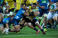 Ngani Laumape scores during the Super Rugby match between the Hurricanes and Blues at Westpac Stadium in Wellington, New Zealand on Saturday, 7 July 2018. Photo: Dave Lintott / lintottphoto.co.nz
