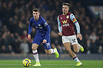 Chelsea's Mason Mount and Aston Villa's Jack Grealish challenge for the ball during the Premier League match at Stamford Bridge, London. Picture date: 4th December 2019. Picture credit should read: Paul Terry/Sportimage