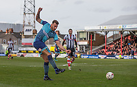 Max Muller of Wycombe Wanderers shoots at goal during the Sky Bet League 2 match between Grimsby Town and Wycombe Wanderers at Blundell Park, Cleethorpes, England on 4 March 2017. Photo by Andy Rowland / PRiME Media Images.
