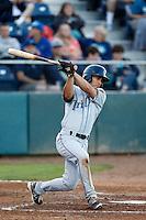Kyle Von Tungeln #14 of the Tri-City Dust Devils bats against the Everett AquaSox at Everett Memorial Stadium on July 24, 2013 in Everett, Washington. Tri-City defeated Everett, 3-1. (Larry Goren/Four Seam Images)