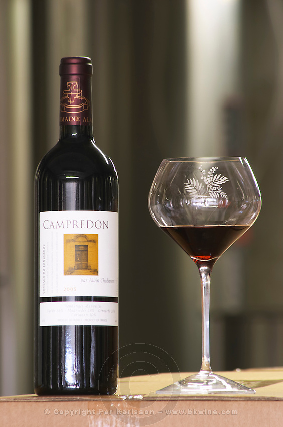 Campredon 2005. Domaine Alain Chabanon, previously Font Caude, in the Lagamas village. Montpeyroux. Languedoc. France. Europe. Bottle. Wine glass.