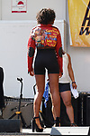 Model walk in a Trucking Fly Wear outfit by Zae Diggs & Check Fernandez, during Harlem Week 2017 at 135th Street and St. Nicholas Avenue in New York City on August 19, 2017. A model walks in a Trucking Fly Wear outfit by Zae Diggs & Check Fernandez, during Harlem Week 2017 at 135th Street and St. Nicholas Avenue in New York City on August 19, 2017.