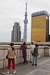 Sept. 30, 2011 - Tokyo, Japan - People look at the view of Tokyo Sky Tree from the Asakusa district in Tokyo. Travelers during Autumn Equinox Day, a national holiday in Japan. (Photo by Christopher Jue/AFLO)