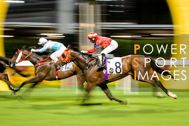 #8 Jockey Eddy Lai Wai-ming riding Starlit Knight during the Hong Kong Racing at Happy Valley Race Course on June 13, 2018 in Hong Kong, Hong Kong. Photo by Marcio Rodrigo Machado / Power Sport Images