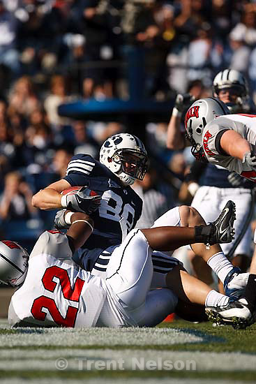 Provo - BYU defeats UNLV 42-35, college football at LaVell Edwards Stadium Saturday October 25, 2008.; 10.25.2008. BYU tight end Andrew George (88) scores a touchdown