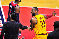 Lebron James of the Cavaliers argues a call. Cleveland Cavaliers defeated Washington Wizards in OT 140-135 during a game at the Verizon Center in Washington, D.C. on Monday, February 6, 2017.  Alan P. Santos/DC Sports Box