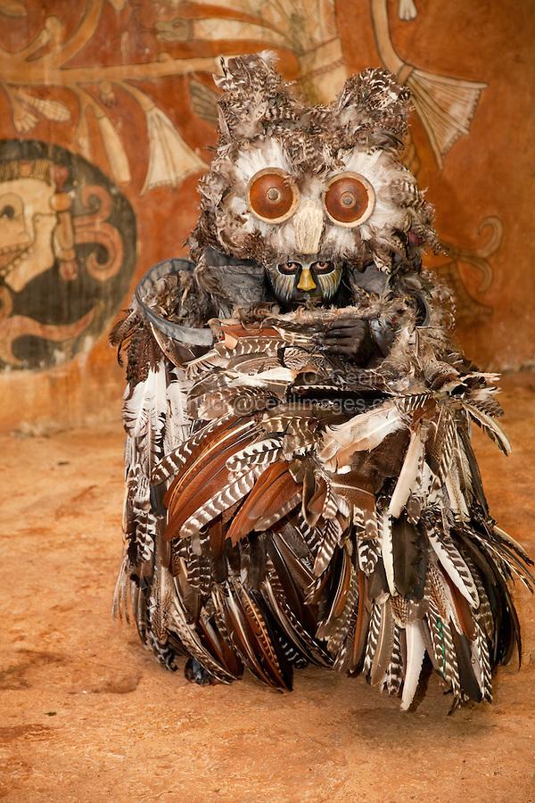 Mayan Dancer Representing an Owl, Symbol of Death in Mayan Mythology.  Xcaret, Riviera Maya, Yucatan, Mexico.