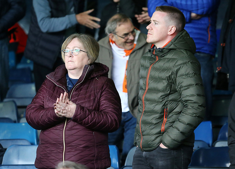 Blackpool fans enjoy the atmosphere inside Kenilworth Road<br /> <br /> Photographer David Shipman/CameraSport<br /> <br /> The EFL Sky Bet League One - Luton Town v Blackpool - Saturday 6th April 2019 - Kenilworth Road - Luton<br /> <br /> World Copyright © 2019 CameraSport. All rights reserved. 43 Linden Ave. Countesthorpe. Leicester. England. LE8 5PG - Tel: +44 (0) 116 277 4147 - admin@camerasport.com - www.camerasport.com