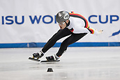 1st February 2019, Dresden, Saxony, Germany; World Short Track Speed Skating; 1000 meters men in the EnergieVerbund Arena. Luca Ler from Germany runs in a curve.