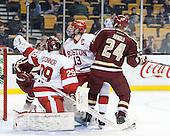 Matt O'Connor (BU - 29), Garrett Noonan (BU - 13), Bill Arnold (BC - 24) - The Boston College Eagles defeated the Boston University Terriers 3-1 (EN) in their opening round game of the 2014 Beanpot on Monday, February 3, 2014, at TD Garden in Boston, Massachusetts.
