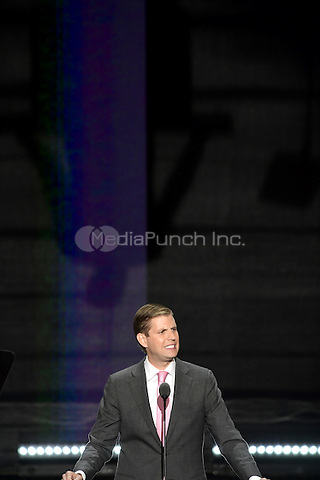 Eric Trump makes remarks against a darkened background at the 2016 Republican National Convention held at the Quicken Loans Arena in Cleveland, Ohio on Wednesday, July 20, 2016.<br /> Credit: Ron Sachs / CNP/MediaPunch<br /> (RESTRICTION: NO New York or New Jersey Newspapers or newspapers within a 75 mile radius of New York City)