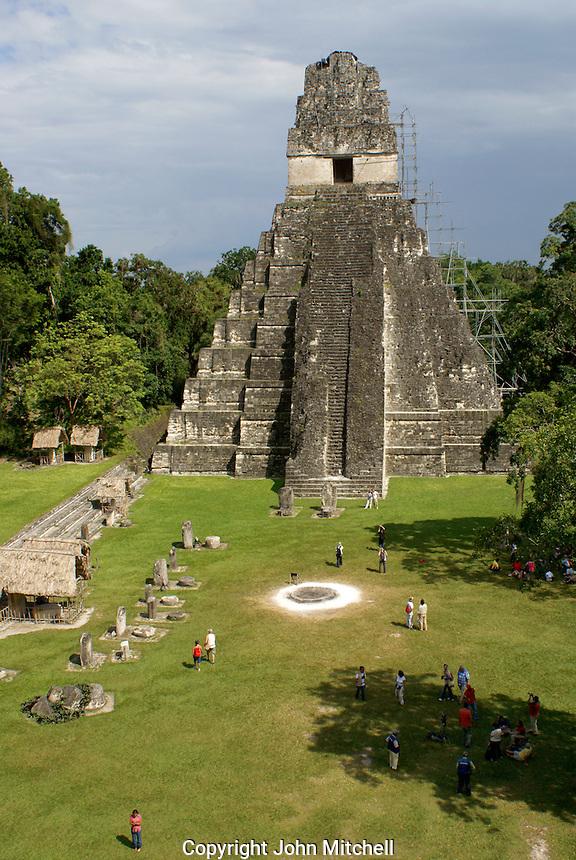 Great Plaza and Temple I or Temple of the Grand Jaguar, Maya ruins of Tikal, El Peten, Guatemala. Tikal is a UNESCO World Heritage Site....