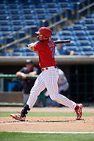 Clearwater Threshers first baseman Darick Hall (21) follows through on a swing during a game against the Lakeland Flying Tigers on May 2, 2018 at Spectrum Field in Clearwater, Florida.  Clearwater defeated Lakeland 7-5.  (Mike Janes/Four Seam Images)
