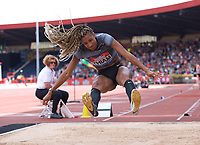 Winner Nafissatou Thiam (Belgium) competing in the Women's long jump during the IAAF Diamond League Athletics Müller Grand Prix Birmingham at Alexander Stadium, Walsall Road, Birmingham on 18 August 2019. Photo by Alan  Stanford.