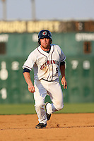 Nolan Fontana #5 of the Lancaster JetHawks runs the bases during a game against the Bakersfield Blaze at The Hanger on July 2, 2013 in Adelanto, California. Lancaster defeated Bakersfield, 12-1. (Larry Goren/Four Seam Images)