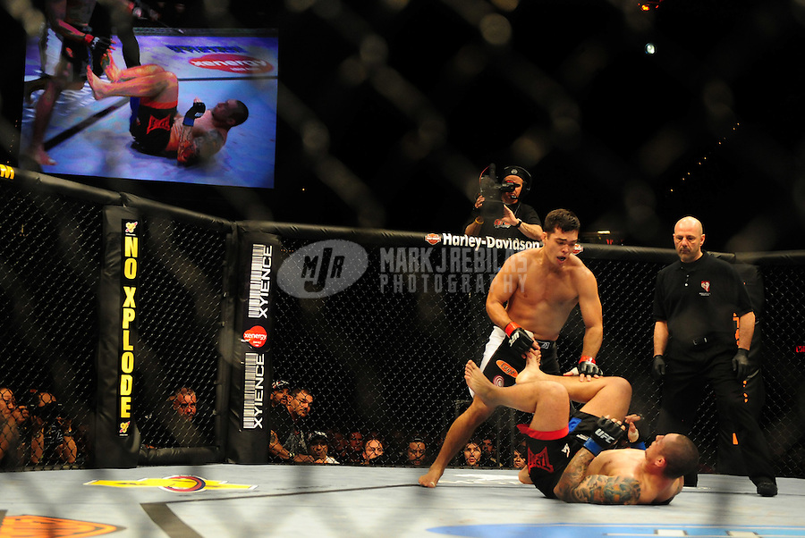 Jan. 31, 2009; Las Vegas, NV, USA; UFC fighter Lyoto Machida (top) against Thiago Silva during the light heavyweight bout in UFC 94 at the MGM Grand Hotel and Casino. Mandatory Credit: Mark J. Rebilas-