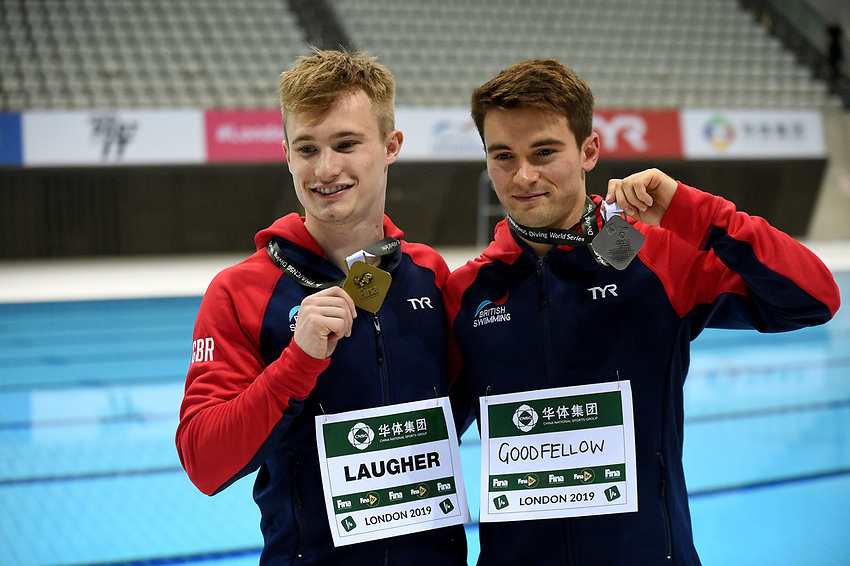 Men's 3m Platform gold and silver medalists Daniel Goodfellow and Jack Laugher <br /> <br /> Photographer Hannah Fountain/CameraSport<br /> <br /> FINA/CNSG Diving World Series 2019 - Day 1 - Friday 17th May 2019 - London Aquatics Centre - Queen Elizabeth Olympic Park - London<br /> <br /> World Copyright © 2019 CameraSport. All rights reserved. 43 Linden Ave. Countesthorpe. Leicester. England. LE8 5PG - Tel: +44 (0) 116 277 4147 - admin@camerasport.com - www.camerasport.com