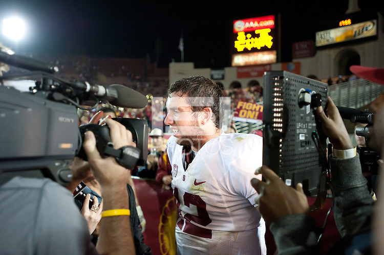 LOS ANGELES, CA - October 29, 2011:  Andrew Luck after Stanford's game against USC at the LA Coliseum in Los Angeles, CA.  Stanford won in triple overtime, 56 -48, and extended its winning streak to 16 games.