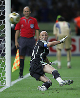 French goalkeeper (16) Fabien Barthez can only watch as the ball sails into the net for a good penalty kick.  Italy defeated France on penalty kicks after leaving the score tied, 1-1, in regulation time in the FIFA World Cup final match at Olympic Stadium in Berlin, Germany, July 9, 2006.
