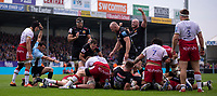 Exeter players celebrate after Exeter Chiefs' Ben Moon scores<br /> <br /> Photographer Bob Bradford/CameraSport<br /> <br /> Gallagher Premiership - Exeter Chiefs v Northampton Saints - Saturday 18th May 2019 - Sandy Park - Exeter<br /> <br /> World Copyright © 2019 CameraSport. All rights reserved. 43 Linden Ave. Countesthorpe. Leicester. England. LE8 5PG - Tel: +44 (0) 116 277 4147 - admin@camerasport.com - www.camerasport.com