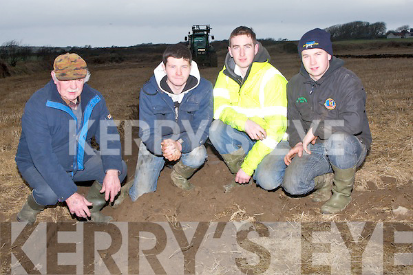 SOIL: Checking out the soil before they start ploughing in Ballyheigue on Sunday l-r: Michael Foley (Lisselton), Michael Donegan and Thomas O'Carroll (Causeway) and Chris McCarthy (Abbeydorney)