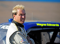 Nov. 13, 2009; Avondale, AZ, USA; NASCAR Camping World Truck Series driver Wayne Edwards during qualifying prior to the Lucas Oil 150 at Phoenix International Raceway. Mandatory Credit: Mark J. Rebilas-