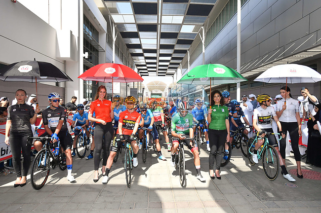 The leaders jerseys lined up for the start of Stage 3 of the 2019 UAE Tour, running 179km form Al Ain to Jebel Hafeet, Abu Dhabi, United Arab Emirates. 26th February 2019.<br /> Picture: LaPresse/Massimo Paolone | Cyclefile<br /> <br /> <br /> All photos usage must carry mandatory copyright credit (© Cyclefile | LaPresse/Massimo Paolone)