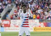 Chester, PA - Monday May 28, 2018: Tim Weah scores and celebrates his goal during an international friendly match between the men's national teams of the United States (USA) and Bolivia (BOL) at Talen Energy Stadium.
