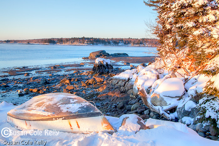 A winter sunrise in Sullivan Harbor, Hancock County, ME, USA