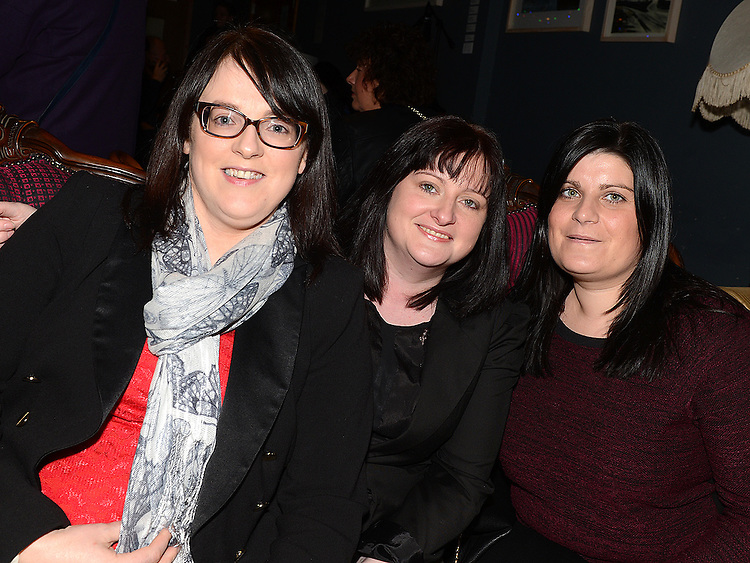 Laura Skelly, Karen Flemming and Tracy Dardis pictured at Eugene Donegan's album Launch in the Droichead Atrs Centre. Photo:Colin Bell/pressphotos.ie