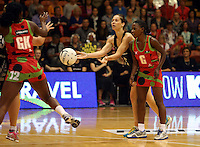 27.10.2013 Silver Fern Katarina Cooper in action during the Silver Ferns V Malawi New World Netball Series played at the Pettigrew Green Arena in Napier. Mandatory Photo Credit ©Michael Bradley.