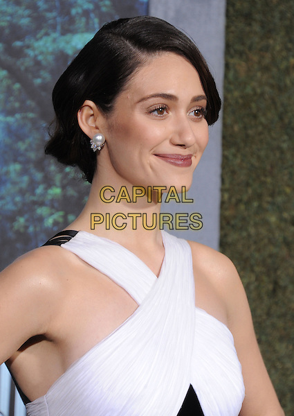 "Emmy Rossum.""Beautiful Creatures"" Los Angeles Premiere held at the TCL Chinese Theatre, Hollywood, California, USA.   .February 6th, 2013.headshot portrait black white criss cross pearl earrings.CAP/DVS.©DVS/Capital Pictures."
