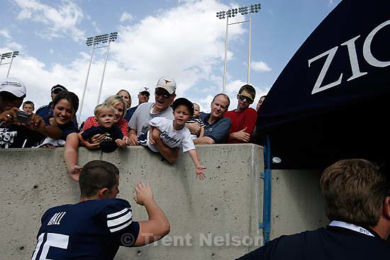Provo - BYU vs. Wyoming college football, Saturday, September 20, 2008, at BYU's Edwards Stadium. BYU quarterback Max Hall (15) with fans